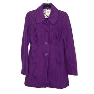 Tulle Plum Single Breast Wool Blend Coat Size S